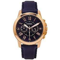 FOSSIL 羅馬優雅風計時的皮帶手錶(FS4835IE)-深藍色面/44mm