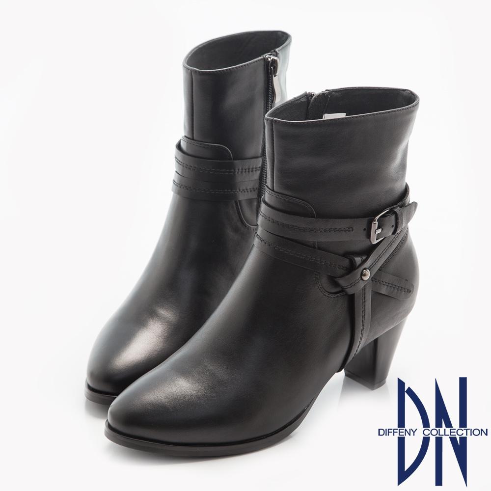 DN 高雅出色 素面真皮拼接雙扣環粗跟短靴-黑