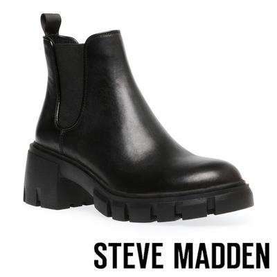 STEVE MADDEN-HOWLER 基本款素面厚底切爾西短靴-黑色