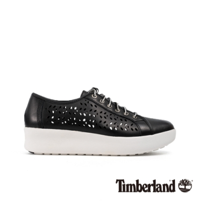 Timberland 女款黑色全粒面皮革鏤空輕量厚底休閒鞋|A1T7D