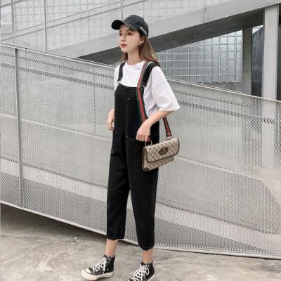時尚個性雙口袋黑吊帶牛仔長褲XL-5XL-KVOLL