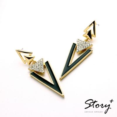 STORY故事銀飾-氣質時尚耳環-Triangle晶鋯耳環