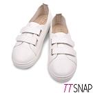 TTSNAP休閒鞋-MIT素面雙層魔鬼氈輕量真皮厚底鞋 白