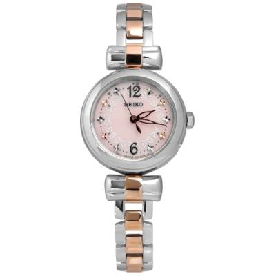 SEIKO 精工 Vivace 巴黎風情 太陽能 電波 鋼帶腕錶-粉色/25mm