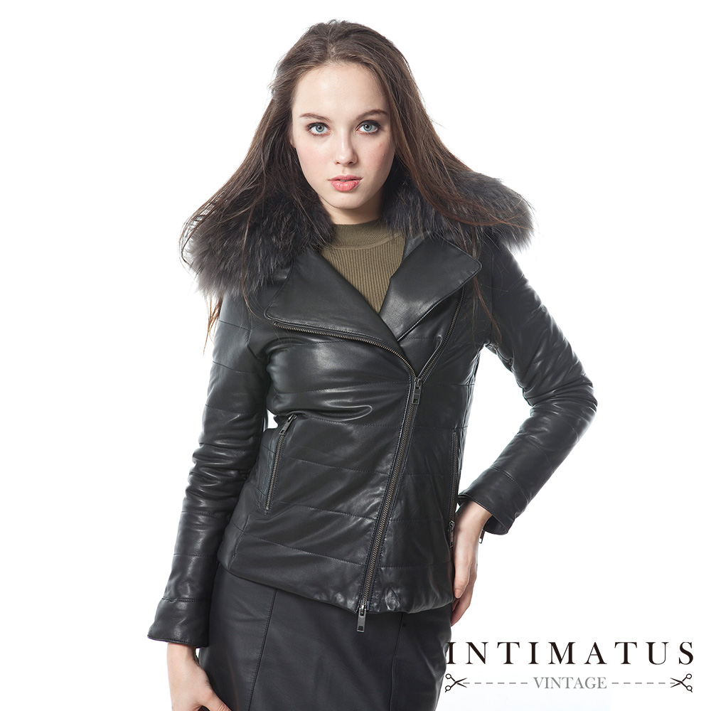 INTIMATUS真皮 奢華貉毛貂毛鋪棉頂級小羊皮皮衣 經典黑
