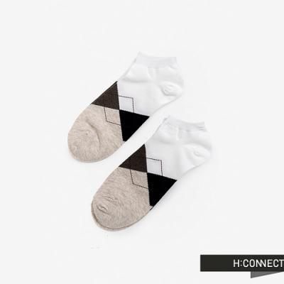 H:CONNECT 韓國品牌 男襪 - 菱格紋短襪組-白