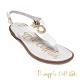 Pineapple Outfitter 時尚皮革金屬LOGO夾腳拖涼鞋-白色 product thumbnail 1