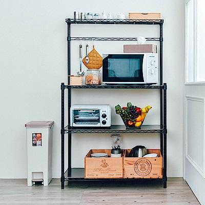 dayneeds 輕型90X45X150公分微波爐架(烤漆)廚房組)含木紋板/ㄇ網