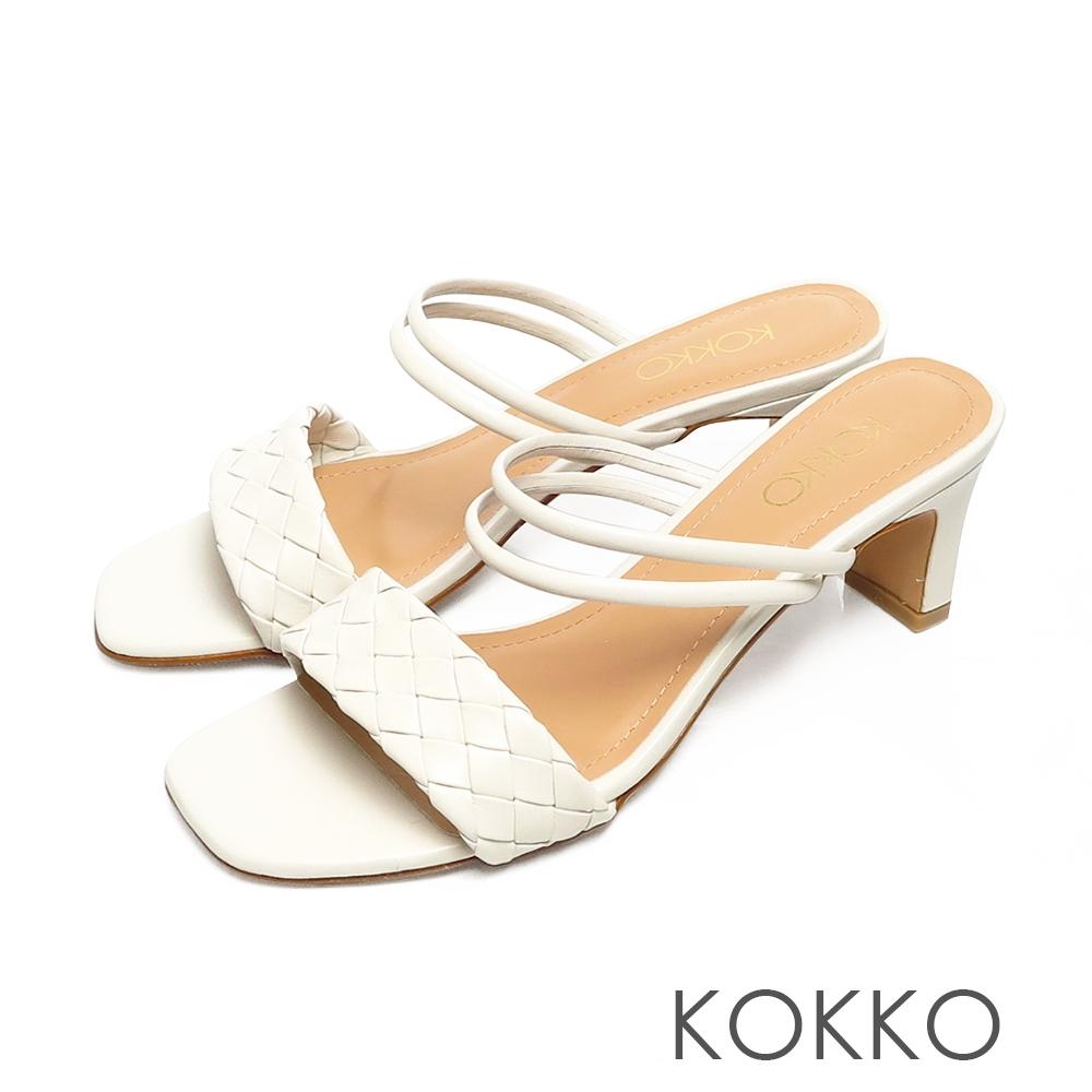 KOKKO時髦方頭編織小牛皮2WAY扁跟涼拖鞋米色