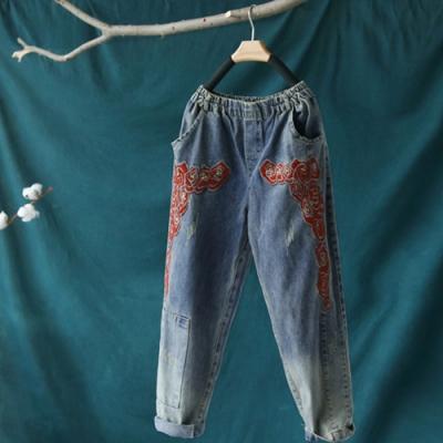 貼布刺繡棉質寬鬆牛仔九分哈倫褲-設計所在