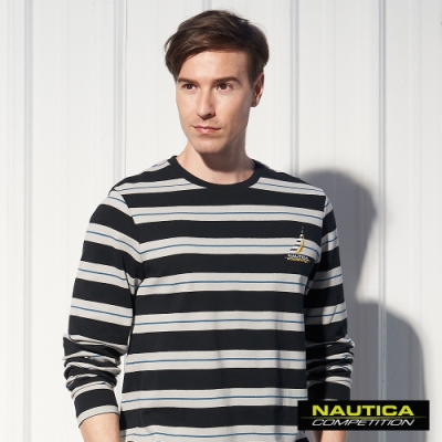 Nautica COMPETITION撞色條紋長袖T恤-黑色