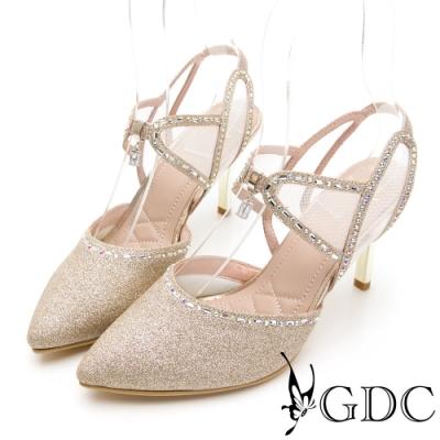 GDC-華麗殿堂鑲鑽簍空尖頭涼跟鞋-金色