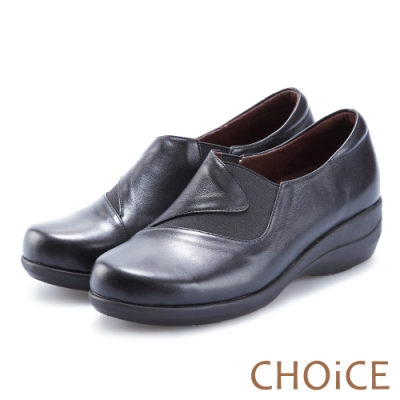 CHOiCE 復古舒適 質感牛皮百搭休閒包鞋-黑色