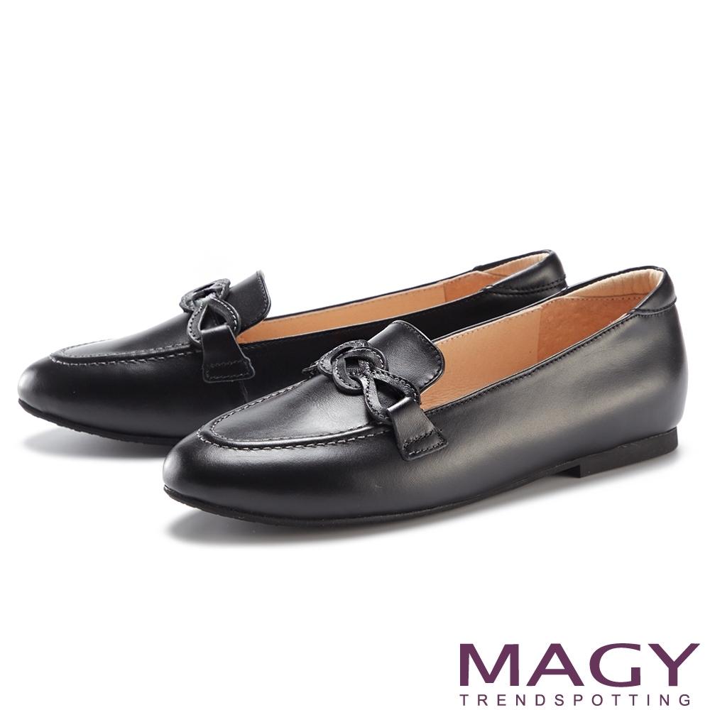 MAGY 嚴選真皮造型平底 女 樂福鞋 黑色