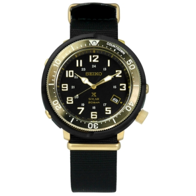 SEIKO 精工 PROSPEX 太陽能電力防水潛水日期帆布手錶-黑金色/44mm