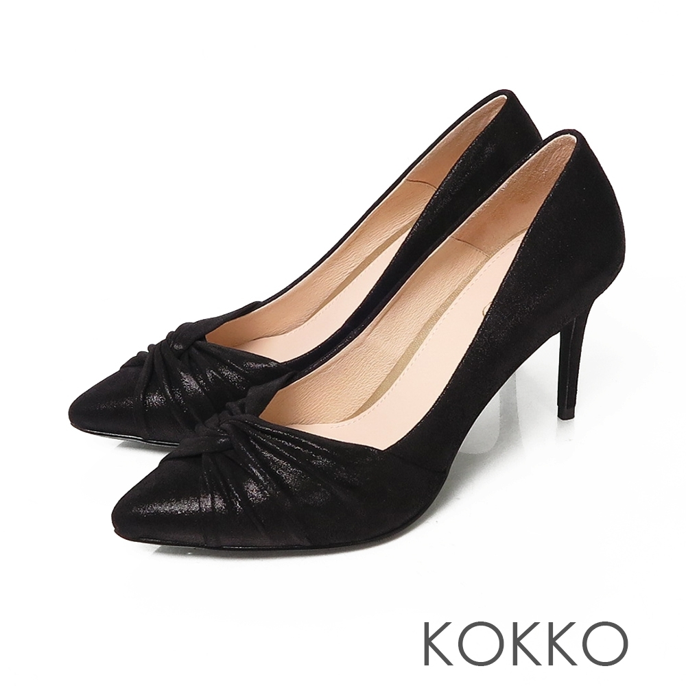KOKKO極致迷人羊皮尖頭抓皺細高跟鞋亮面黑