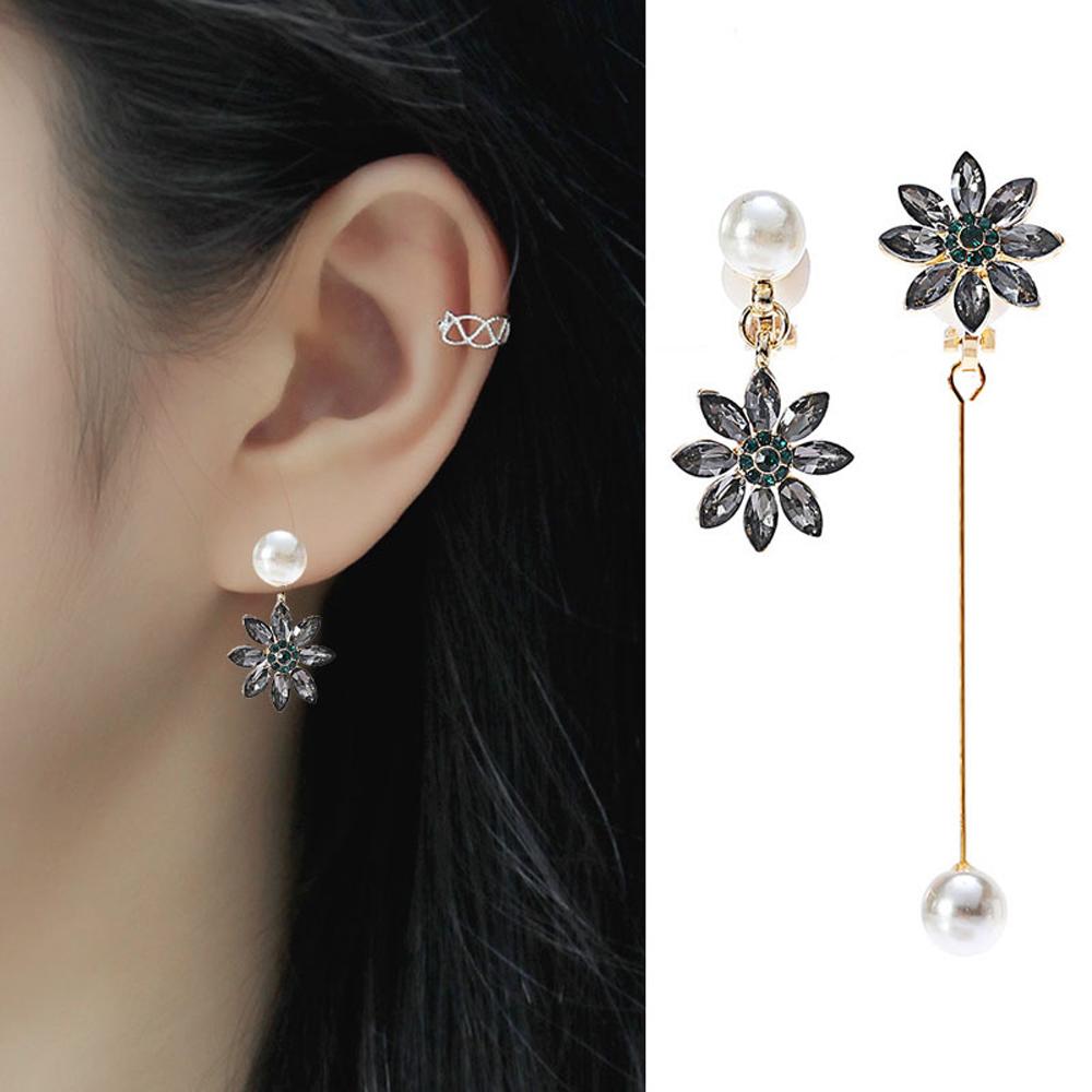 梨花HaNA 耳夾/耳針選韓國夜之女神黑水晶花卉長耳環