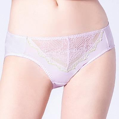 思薇爾 桐花漫舞系列M-XXL蕾絲中腰三角內褲(淡粉紫)