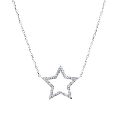 Prisme 美國時尚飾品 璀璨鑲鋯星形純銀項鍊
