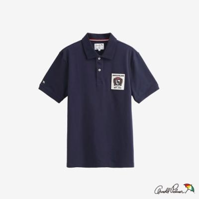 Arnold Palmer -男裝-學院風貼布LOGO POLO衫-深藍色