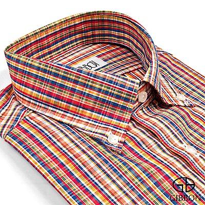 GIBBON 繽紛玩色格紋長袖襯衫‧彩橘