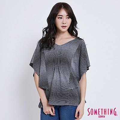 SOMETHING 漸層條紋V領 剪裁T恤-女-灰色