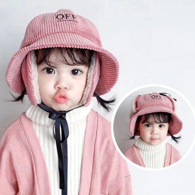 iSFun 保暖燈芯絨 反摺兒童護耳漁夫帽 粉
