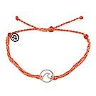 Pura Vida 美國手工 WAVE 銀色波浪墜飾 珊瑚橘臘線可調式手鍊衝浪海灘防水手繩