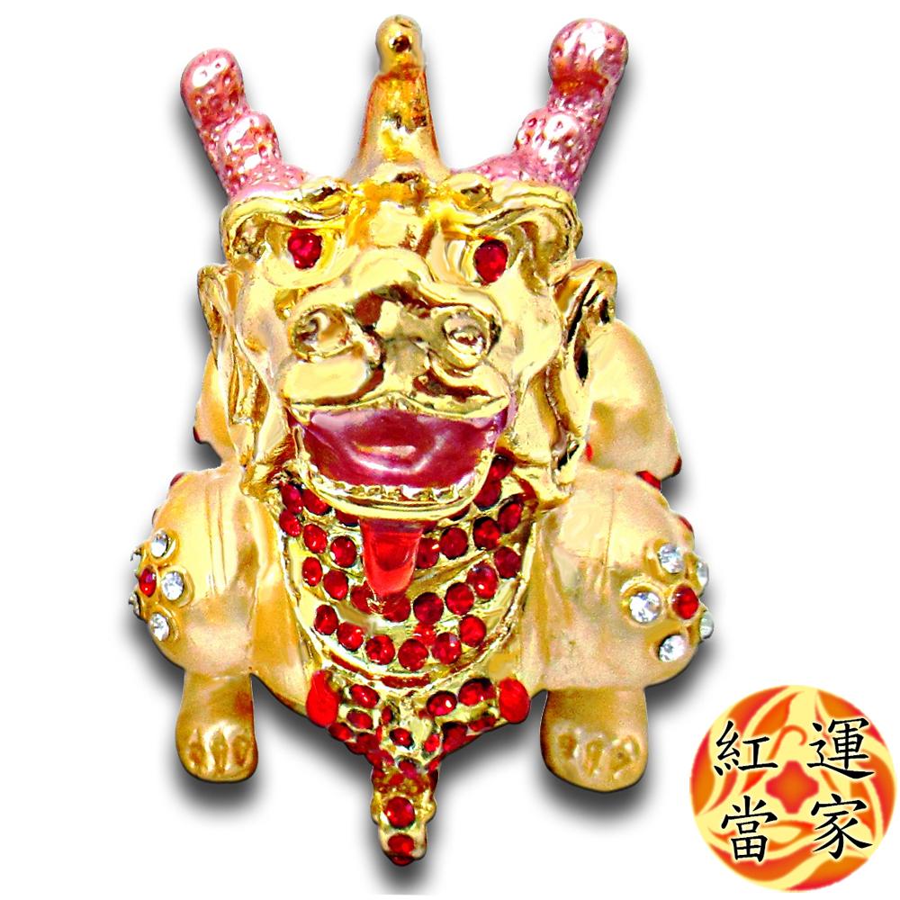 紅運當家 銅鎏金 招財金貔貅+水鑽 聚寶盆擺件( 單隻,身長8公分)