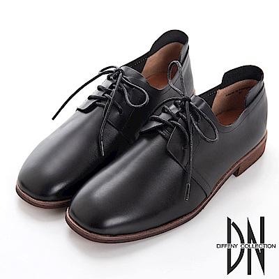 DN 漫步英倫 復古質感皮革鞋帶紳士鞋-黑