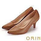 ORIN 時尚OL 簡約剪裁真皮素面高跟鞋-棕色