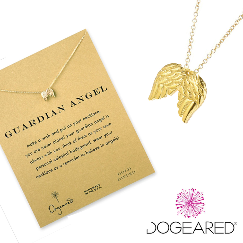 Dogeared 許願項鍊 金色天使翅膀 Guardian Angel 附原廠盒