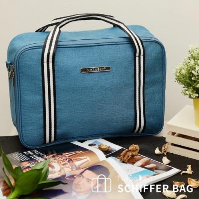 【NaSaDen】【鎏金版】雪佛包-肩背/手提/穿套行李箱-/收納袋/行李袋-相當一個16吋的行李箱-孔雀藍