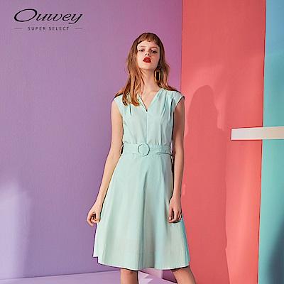 OUWEY歐薇 微光澤V領洋裝(綠)