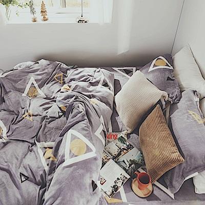 絲薇諾 幾何 加大四件式-法蘭絨 鋪棉加厚床包被套組