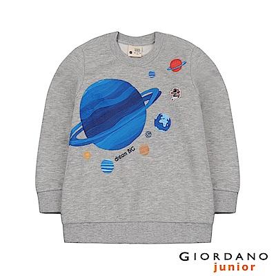 GIORDANO 童裝手繪風格宇宙動物刷毛長袖上衣-03 中花灰
