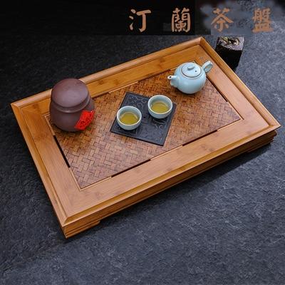 【原藝坊】老竹蓆 烏金石孟宗竹制茶盤 汀蘭 款 (含烏金石盤)