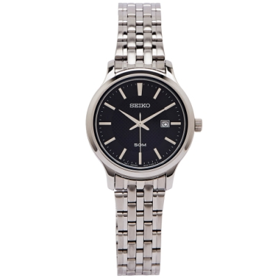 SEIKO 簡約魅力風的女性手錶(SUR649P1)-黑面X銀色/30mm