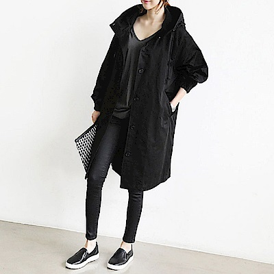 AH dream夢想女孩 英倫風寬鬆百搭中長版風衣外套/2色B981