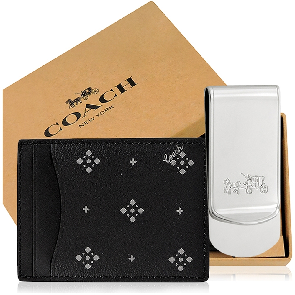 COACH 黑色鑽石印花PVC名片夾+銀色馬車LOGO烙印鈔票夾
