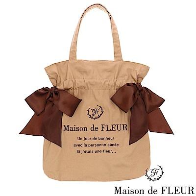Maison de FLEUR  雙蝴蝶結緞帶配色托特包