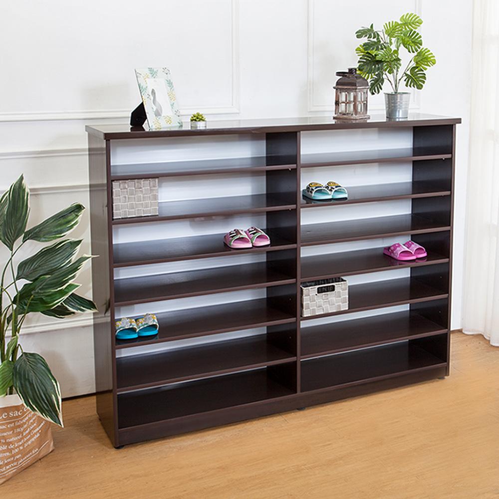 Boden-防潮防蛀防水塑鋼5尺開放式鞋櫃(胡桃)-150x34x118cm