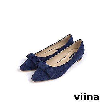 viina Basic 素面蝴蝶結低跟鞋 - 深藍