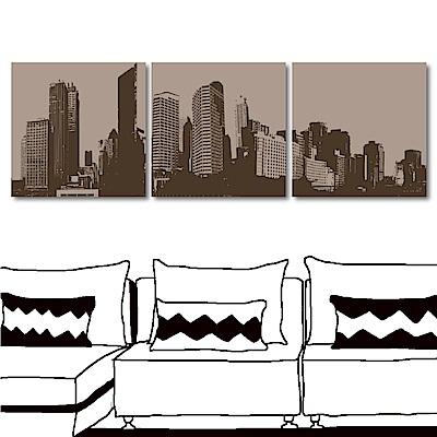 123點點貼 三聯式 時尚建築無痕壁貼-都市構圖30x30cm
