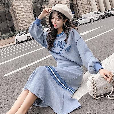 DABI 韓國風名媛小香風時尚針織套裝長袖裙裝