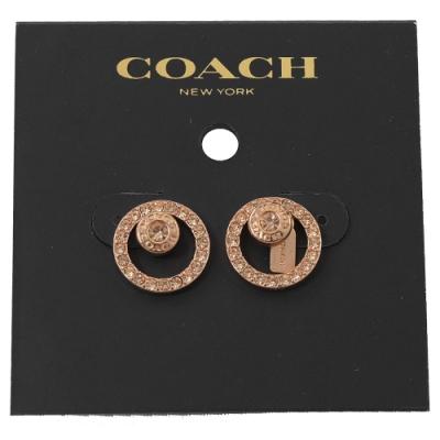 COACH 圓圈型水鑽裝飾環狀耳針式耳環(玫瑰金)