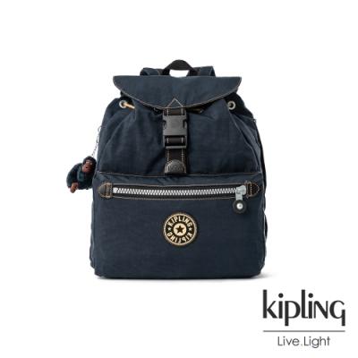 海軍藍撞色縫線滾邊插扣掀蓋後背包-KEEPER