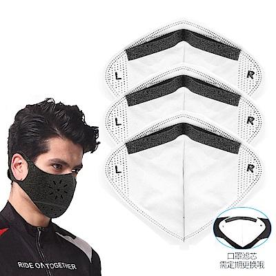活力揚邑 後貼式活性碳運動騎行口罩6層過濾防霾面罩濾芯-3入組