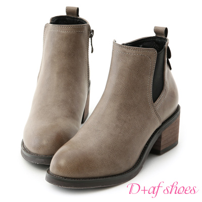 D+AF 玩酷經典.側鬆緊拼接中跟短靴*灰