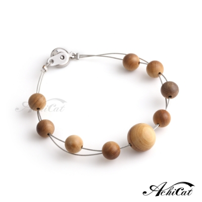 AchiCat天然檀香珠手作鋼手鍊 珍貴典藏